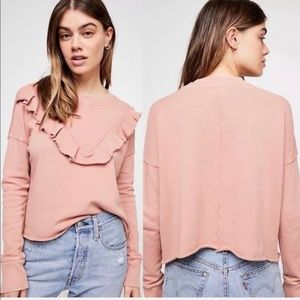 Free People Ooh La Ruffle Pullover Uptown Pink Top